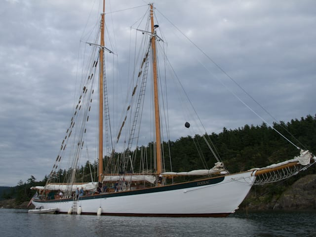The 1924-built Schooner Zodiac has been lovingly restored and preserved and sails short cruises throughout the San Juan Islands. Photo © 2012 Aaron Saunders