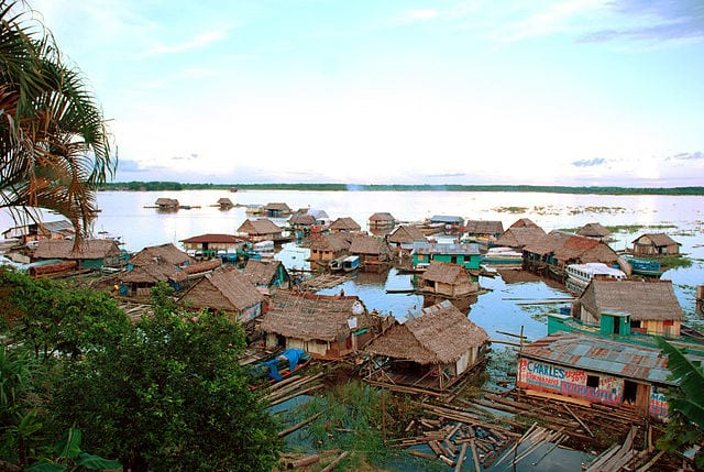 A floating village near Iquitos, on the Peruvian Amazon. Photo courtesy of Wikipedia / Creative Commons