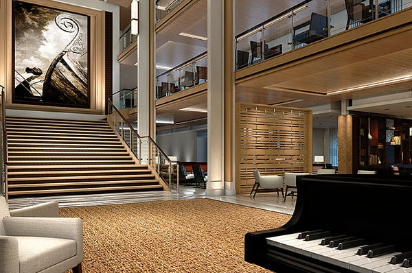 The atrium aboard Viking Star will span three decks and will focus as much on showcasing what's outside the ship as what's on the inside. Illustration courtesy of Viking Cruises.