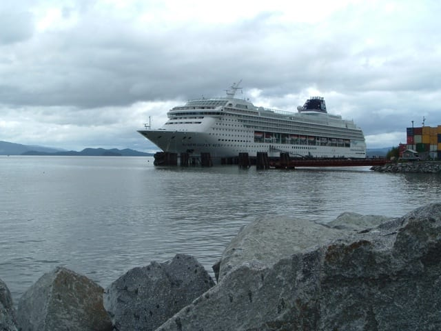Norwegian Cruise Line's Norwegian Sun called on Wrangell during her 2005 season. Today, only luxury lines and small-ship expedition cruises visit. Photo © Aaron Saunders